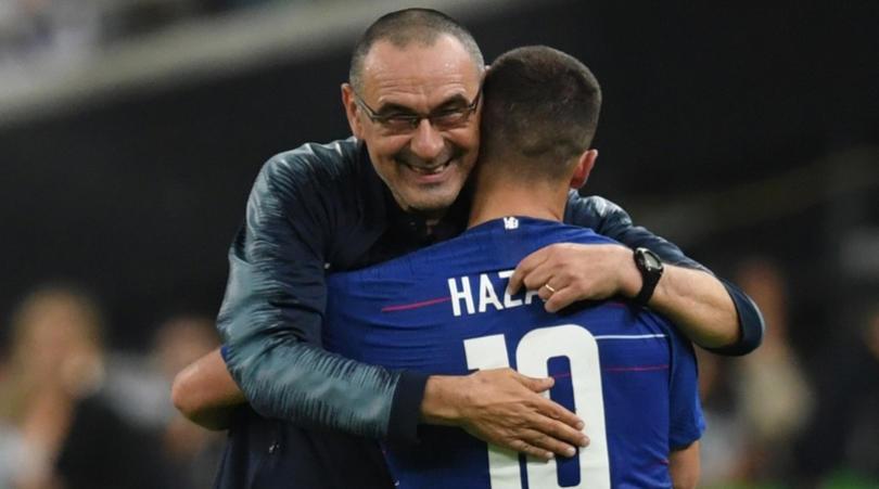 Maurizio Sarri dan Eden Hazard Chelsea