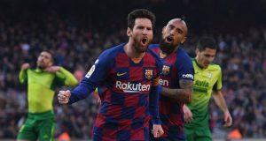 Lionel Messi dan Arturo Vidal Barcelona